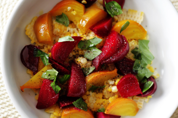 Post image for MARTHA'S SWEET CORN W/BABY BEETS & BASIL